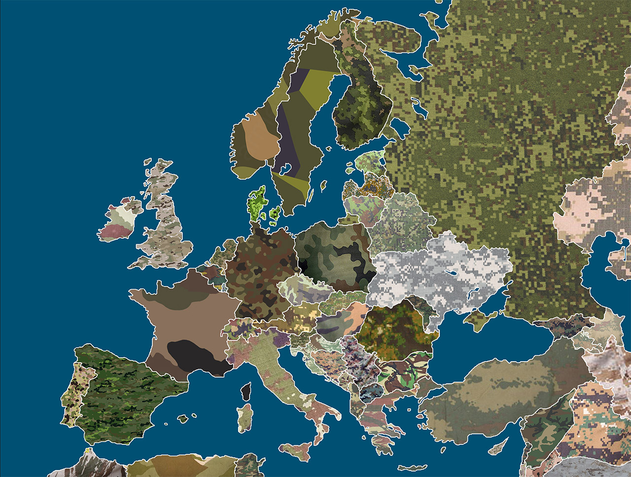 Camouflage patterns map of Europe.