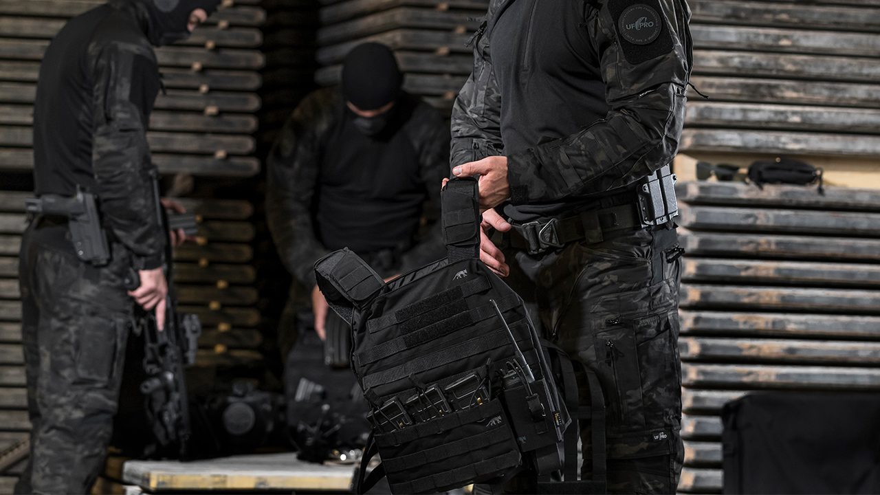 Body armour can be used in plate carriers to protect an operator from gunshots.